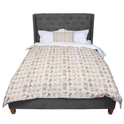 Marianna Tankelevich Cute Birds Comforter Size: King, Color: Tan
