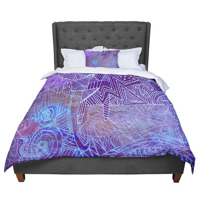Marianna Tankelevich Abstract with Wolf Illustration Comforter Size: Queen