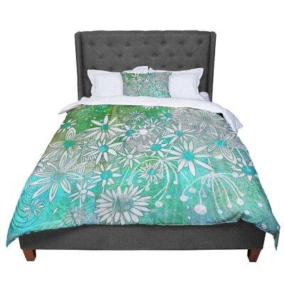 Marianna Tankelevich Flowers Comforter Size: Queen, Color: White/Green
