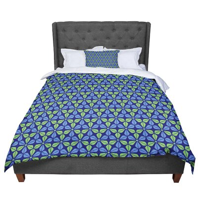 Nick Atkinson Infinite Flowers Comforter Size: Queen, Color: Blue