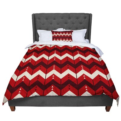 Nick Atkinson Chevron Dance Comforter Size: King, Color: Red