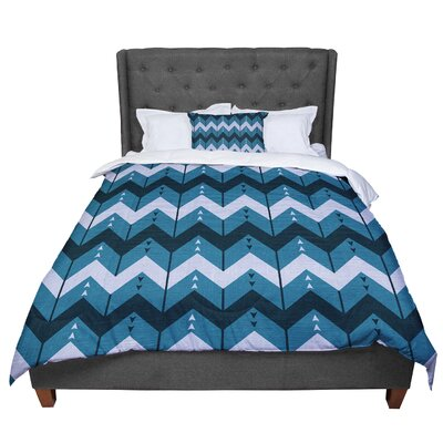 Nick Atkinson Chevron Dance Comforter Size: Queen, Color: Blue
