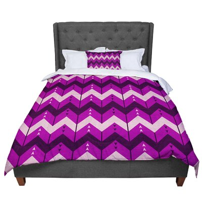 Nick Atkinson Chevron Dance Comforter Size: Queen, Color: Purple