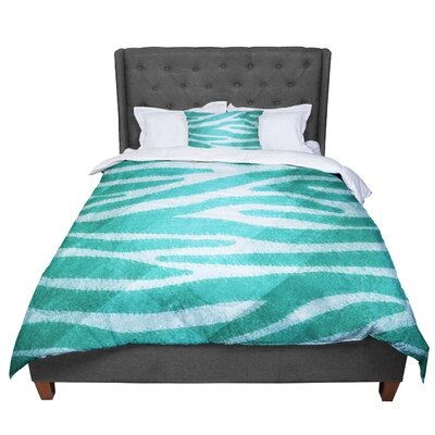 Nick Atkinson Zebra Texture Comforter Size: Queen, Color: Blue