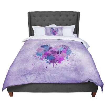 Nick Atkinson Painted Heart Comforter Size: Queen