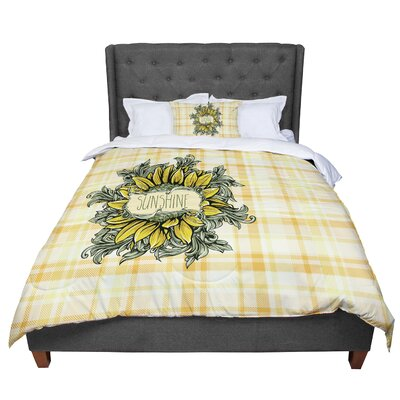 Nick Atkinson Sunflower Sunshine Comforter Size: King