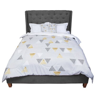 Nick Atkinson Triangle Love II Comforter Size: Queen, Color: Gray Gold