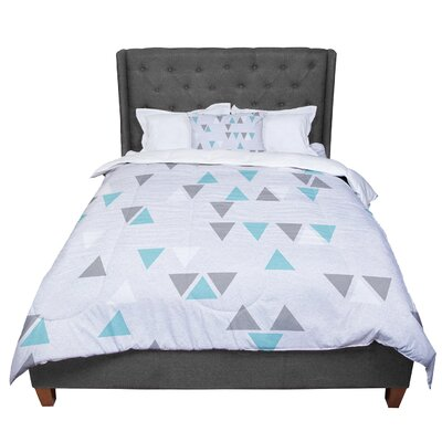 Nick Atkinson Triangle Love II Comforter Size: King, Color: Gray Teal