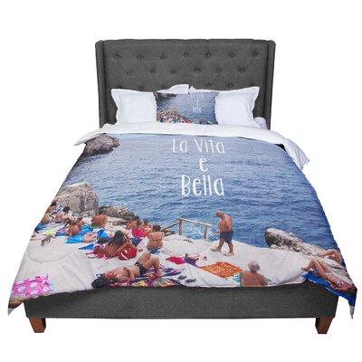 Nastasia Cook La Vita E Bella Coastal Typography Comforter Size: Queen