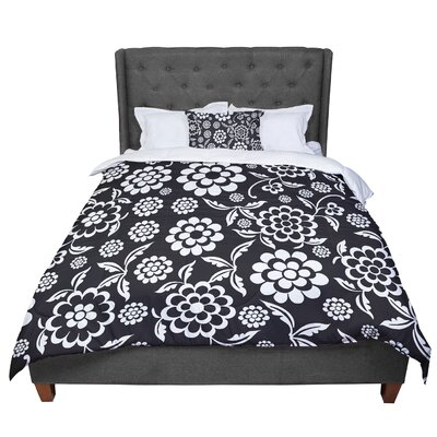 Nicole Ketchum Cherry Floral Comforter Size: Queen, Color: Black