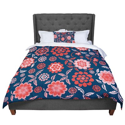 Nicole Ketchum Cherry Floral Comforter Size: Queen, Color: Dark Blue/Red