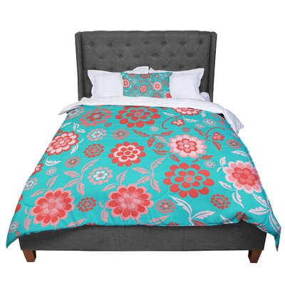 Nicole Ketchum Cherry Floral Comforter Size: Queen, Color: Teal/Red
