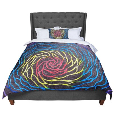 Designs Rainbow Vortex Illustration Comforter Size: Queen