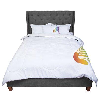 Designs Rainbow Zebra Animals Comforter Size: Queen
