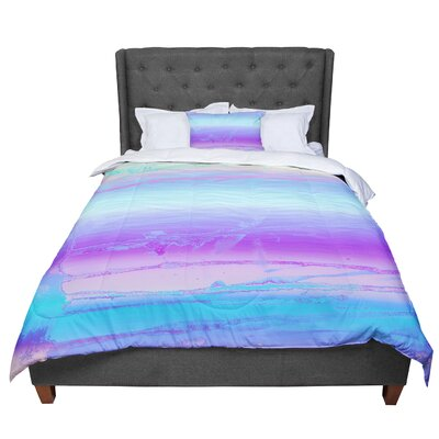 Nina May Drip Dye Cool Comforter Size: Queen, Color: Pastel Blue