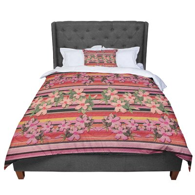 Nina May Peach Hibiscus Stripe Comforter Size: Twin