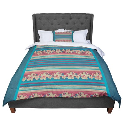 Nina May Mahalo Denim Stripe Floral Comforter Size: Queen