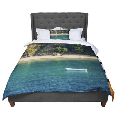 Nick Nareshni Lonely Boat on Coast Photography Comforter Size: Queen
