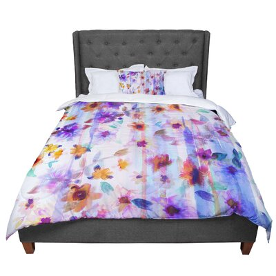 Nikki Strange Floral Ombre Comforter Size: Twin