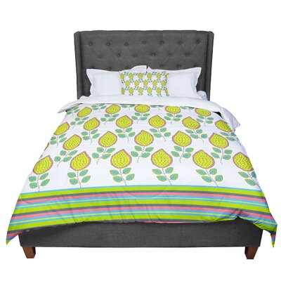 Nandita Singh Leaves Bright Floral Comforter Size: Twin