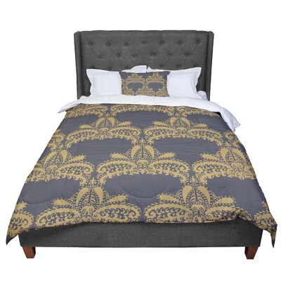 Nandita Singh Decorative Motif Floral Comforter Size: Twin, Color: Gold/Copper