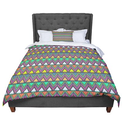 Nandita Singh Pattern Play Chevron Comforter Size: Twin, Color: Purple/Green