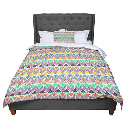 Nandita Singh Pattern Play Chevron Comforter Size: King, Color: Teal/Yellow