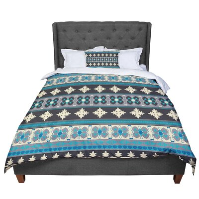 Nandita Singh Borders Comforter Size: Queen, Color: Teal/Yellow