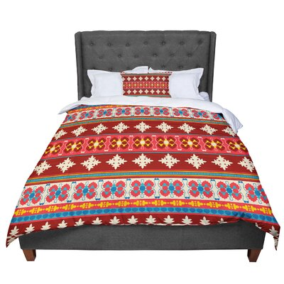 Nandita Singh Borders Comforter Size: King, Color: Red/Maroon