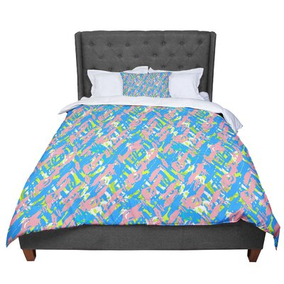 Nandita Singh Abstract Print Comforter Size: Queen, Color: Blue/Pink