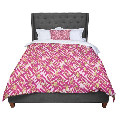 Nandita Singh Abstract Print Comforter Size: King, Color: Pink/Red