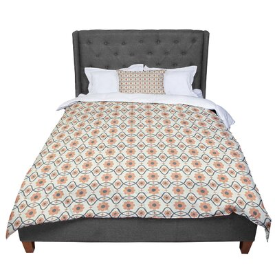 Nandita Singh Floral Pattern Comforter Size: Queen, Color: Orange