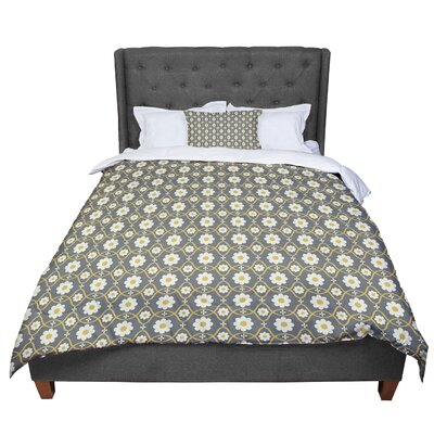 Nandita Singh Floral Pattern Comforter Size: Queen, Color: Gray