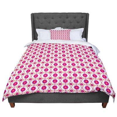 Nandita Singh Floral Pattern Comforter Size: Queen, Color: Pink