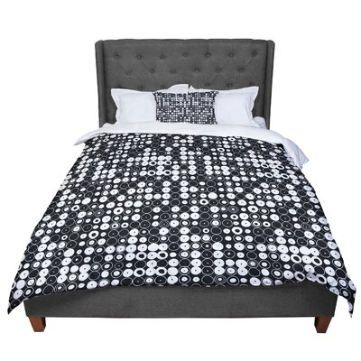 Nandita Singh Funny Polka Dots Abstract Comforter Size: Queen, Color: Black