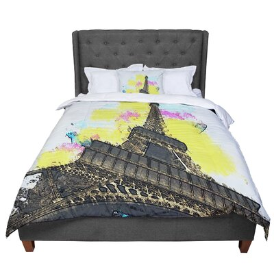 Oriana Cordero Eifel - Bon Jour Paris Comforter Size: Queen
