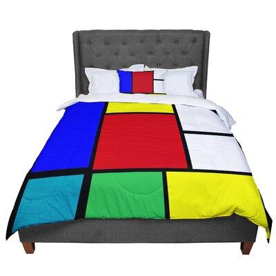 Oriana Cordero Mondrian and Me Squares Comforter Size: Queen