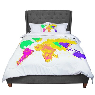 Oriana Cordero My World Rainbow Map Comforter Size: Queen