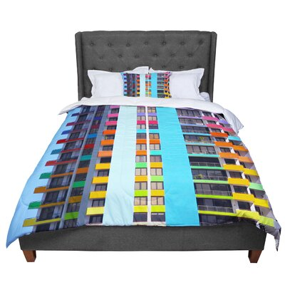 Philip the Rainbow Building Modern Comforter Size: Queen