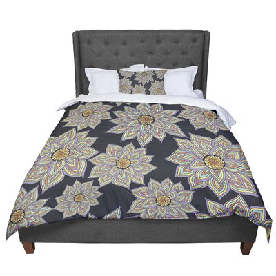 Pom Graphic Design Floral Dance in the Dark Comforter Size: King, Color: Black