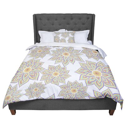Pom Graphic Design Floral Dance in the Dark Comforter Size: Twin, Color: White