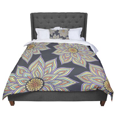 Pom Graphic Design Floral Rhythm in the Dark Comforter Size: Twin, Color: Black