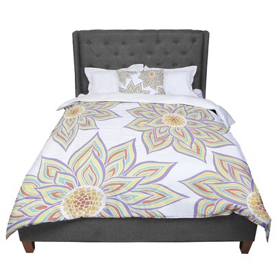 Pom Graphic Design Floral Rhythm in the Dark Comforter Size: Queen, Color: White