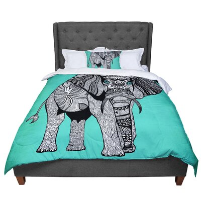 Pom Graphic Design Elephant of Namibia Color Comforter Size: King, Color: Aqua/Gray