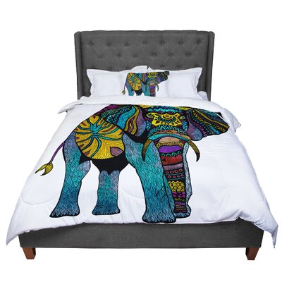 Pom Graphic Design Elephant of Namibia Color Comforter Size: Queen, Color: White/Blue