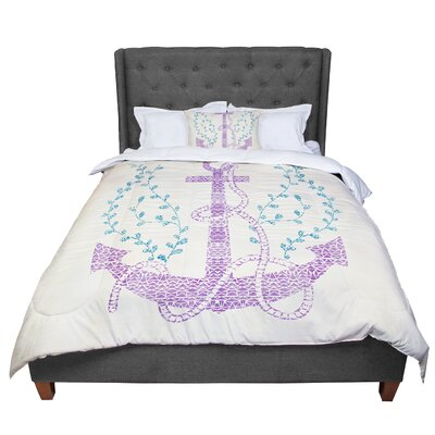 Pom Graphic Design Tribal Nautica II Comforter Size: Queen, Color: White/Pink