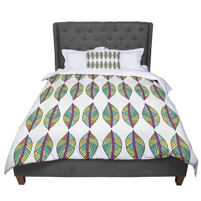 Pom Graphic Design Tribal Leaves Comforter Size: Queen