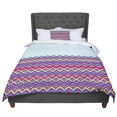 Pom Graphic Design Horizons Comforter Size: King, Color: Purple/Teal