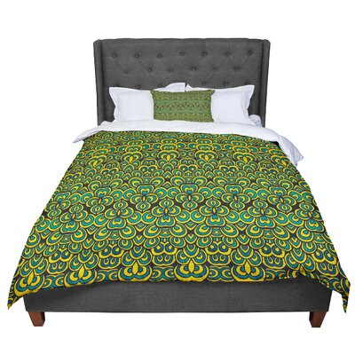 Pom Graphic Design Animal Temple Comforter Size: Queen, Color: Black/Blue/Yellow