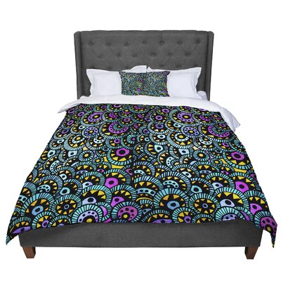 Pom Graphic Design Peacock Tail Comforter Size: Queen